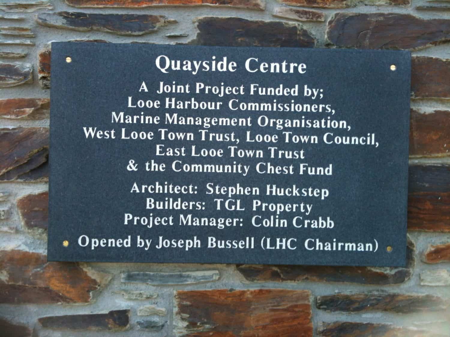 West Looe Quayside Centre Plaque